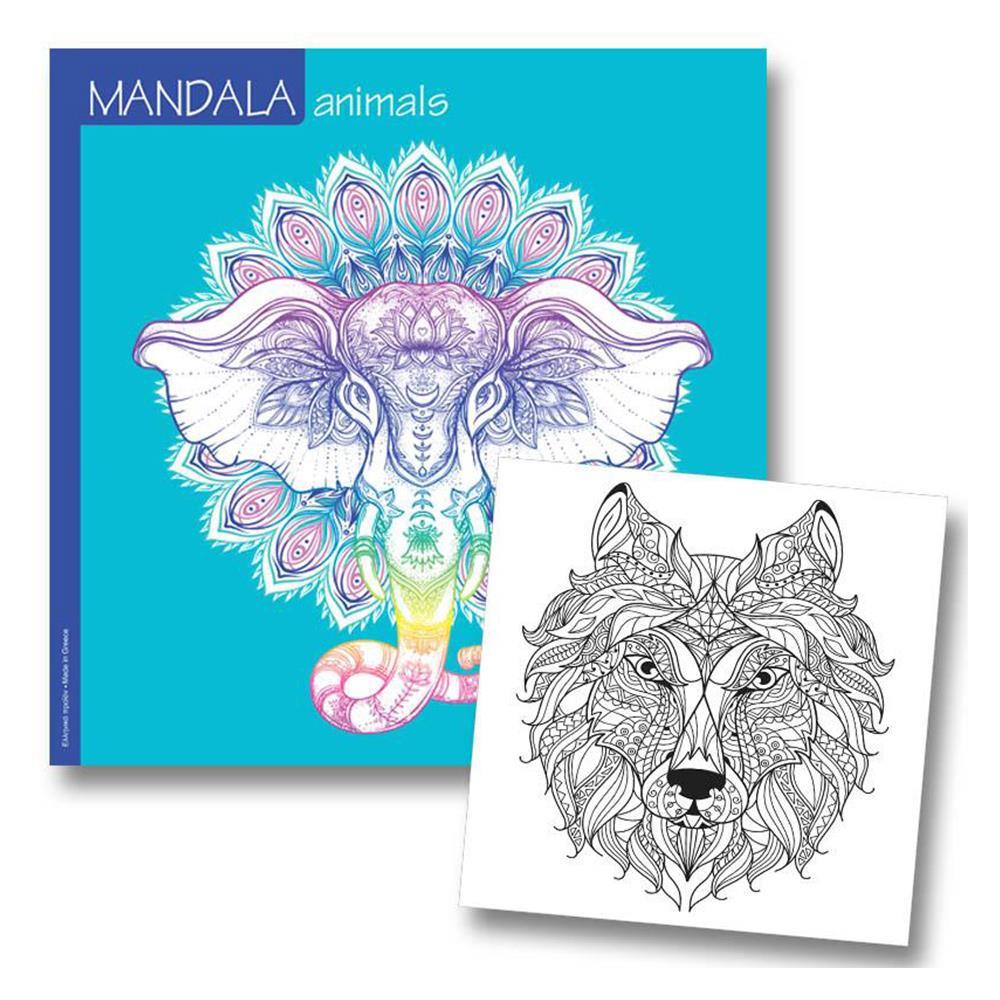 Μπλοκ ζωγραφικής 23x23 Νext mandala animals 36 φύλλα