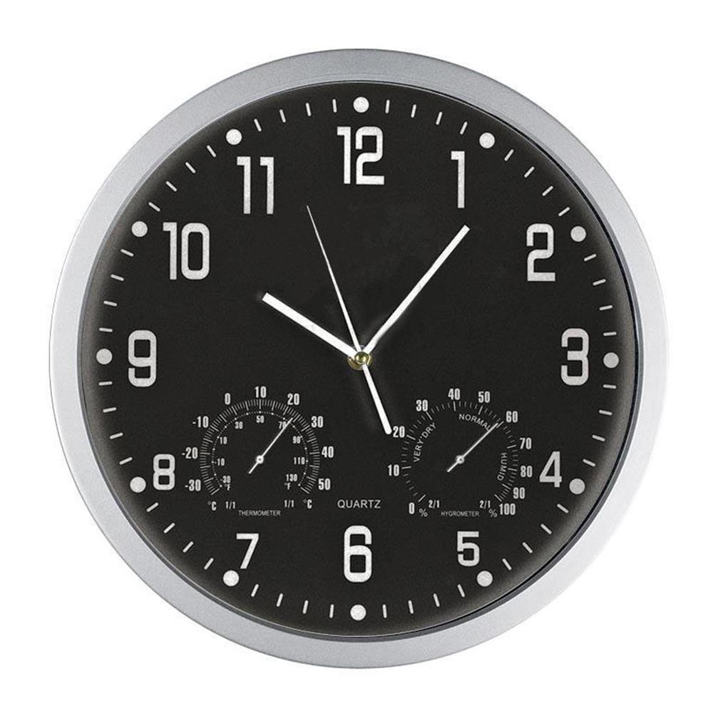 Ρολόι τοίχου 35 cm με θερμόμετρο-υγρόμετρο μαύρο