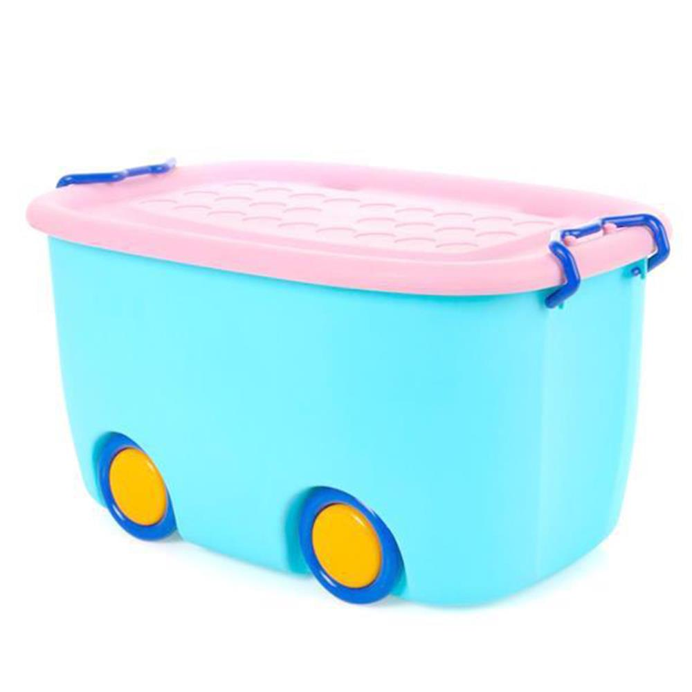 Κουτί με ρόδες πλαστικό 24x47x30 cm γαλάζιο