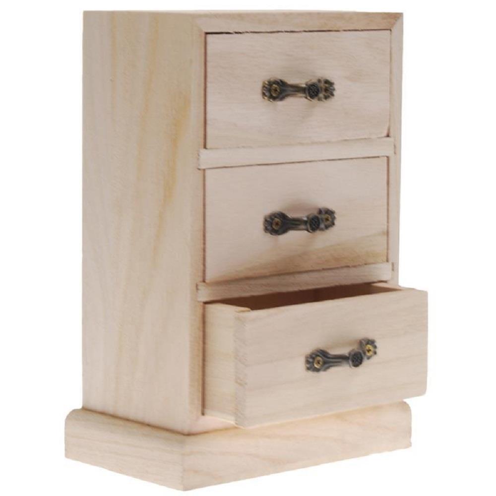 Κουτί ξύλινο Next με 3 συρτάρια 18x11x7 cm