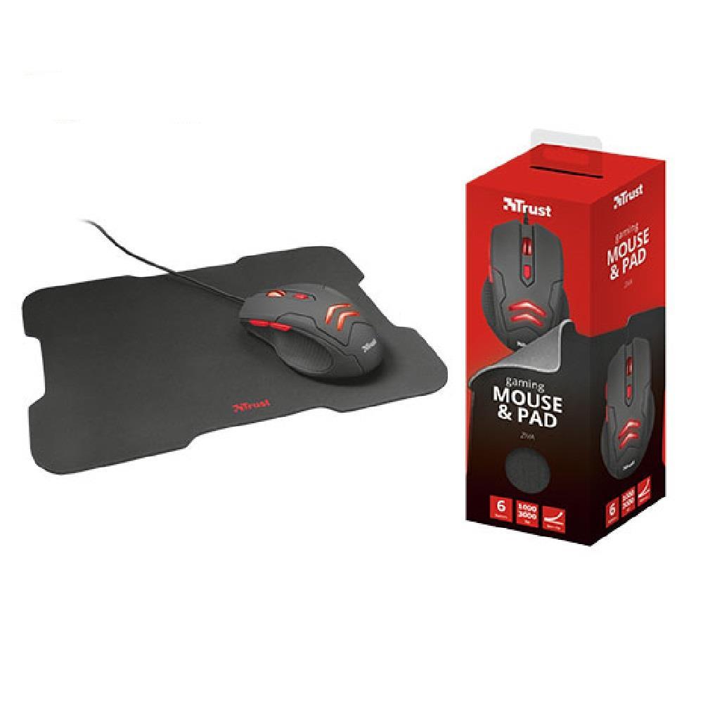 Ποντίκι & mouse pad Trust gaming 3000 Dpi Ziva μαύρο