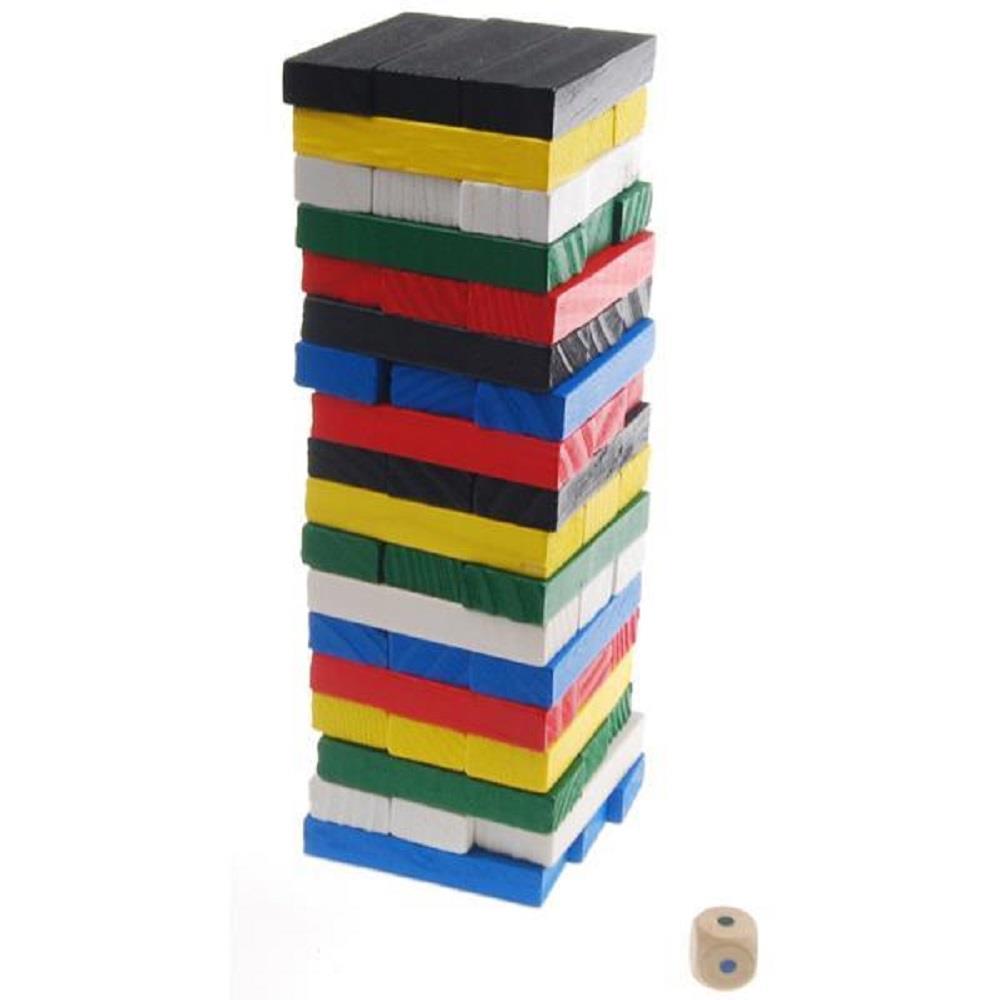 Επιτραπέζιο παιχνίδι Jenga ξύλινο χρωματιστό 54 τεμ.
