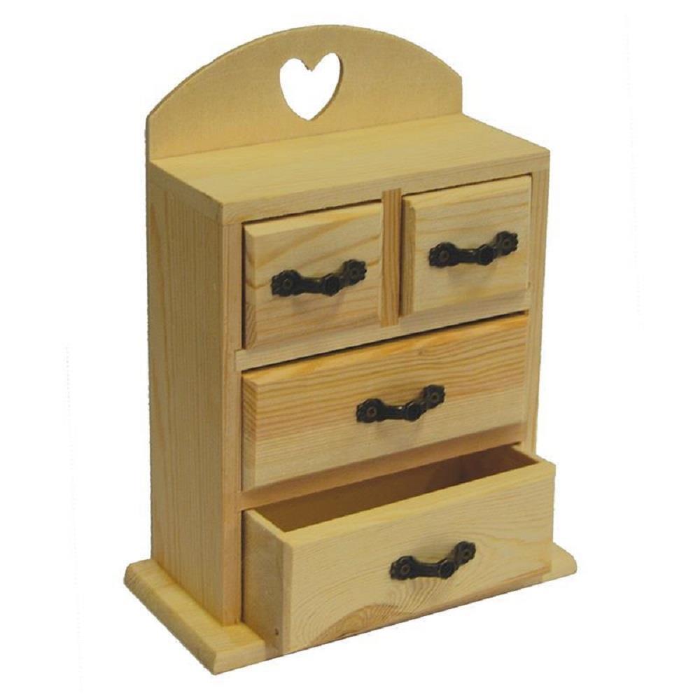 Κουτί ξύλινο Next με 4 συρτάρια 15,5x7,6x20,5 cm