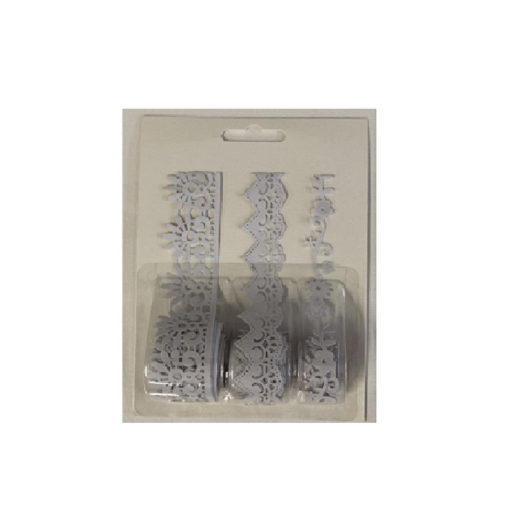 Δαντέλα βελούδινη λευκή 3 σχέδια 1 μέτρο/ρολό