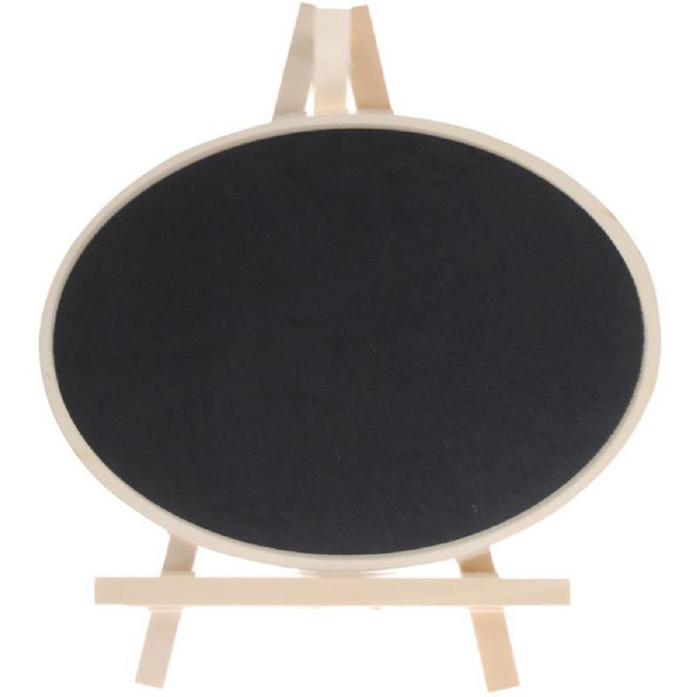 Πίνακας υγρής κιμωλίας οβάλ 15x20 cm με ξύλινη βάση