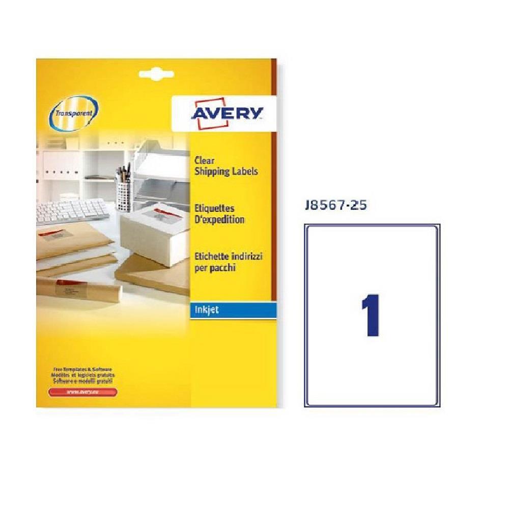 Ετικέτες διάφανες Α4 Avery J8567 25 φύλλα