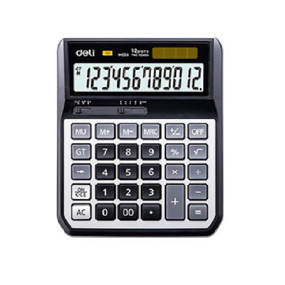 Αριθμομηχανή Deli EM00820 12 ψηφίων μεταλλική μαύρη