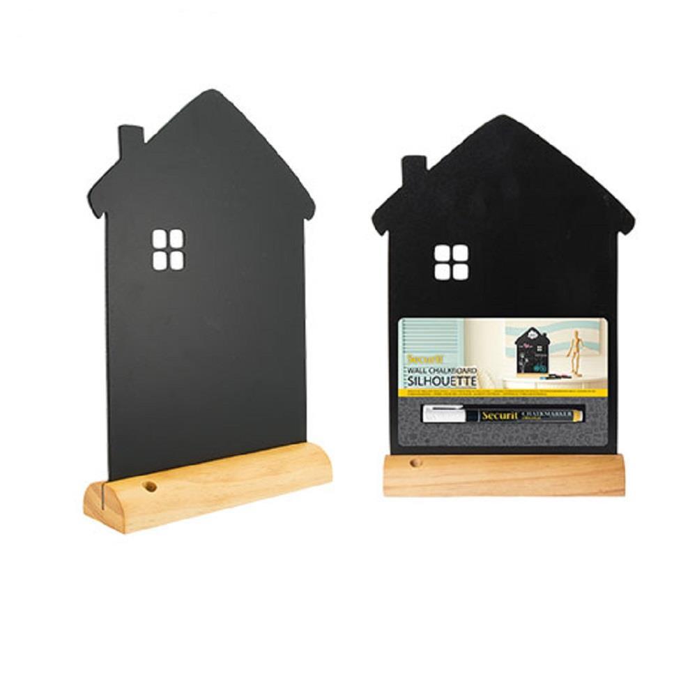 Πίνακας υγρής κιμωλίας Securit 32x23 cm σπίτι με βάση & μαρκαδόρο