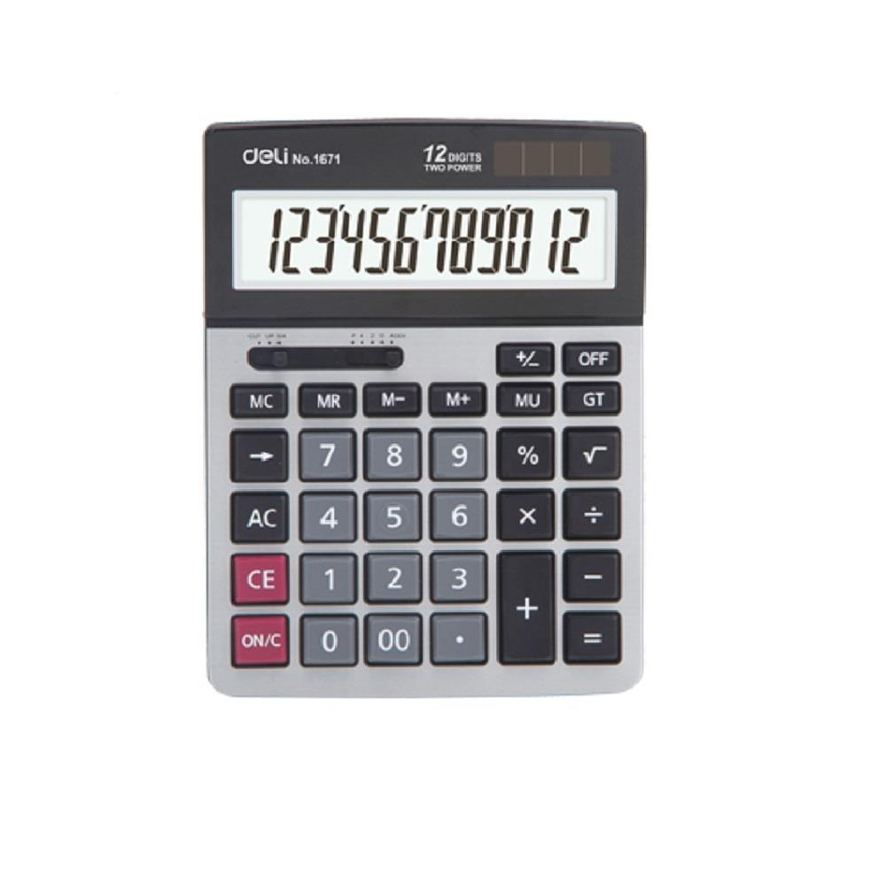 Αριθμομηχανή Deli E1671 12 ψηφίων ασημί