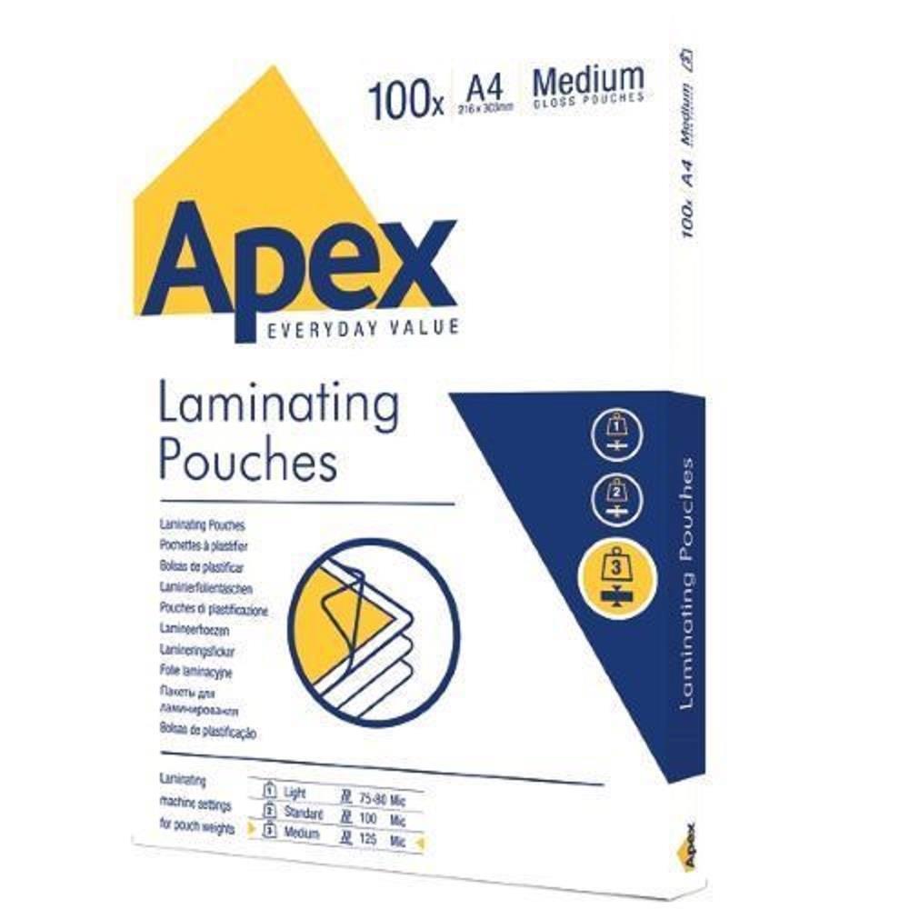 Δίφυλλα πλαστικοποίησης Α4 125mic Apex 100τεμ.