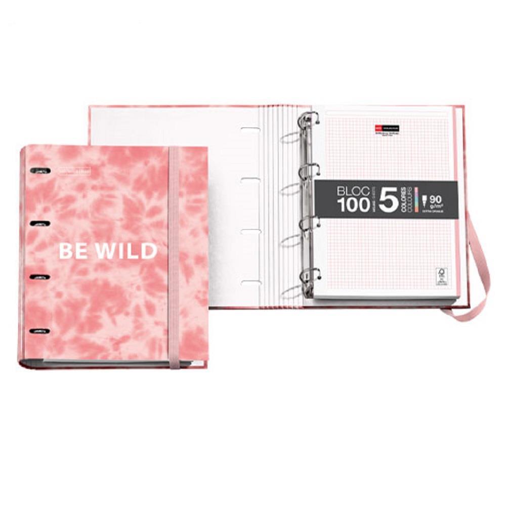 Σημειωματάριο Miquelrius Α4 με 4 κρίκους Tie Dye Antiviral ροζ