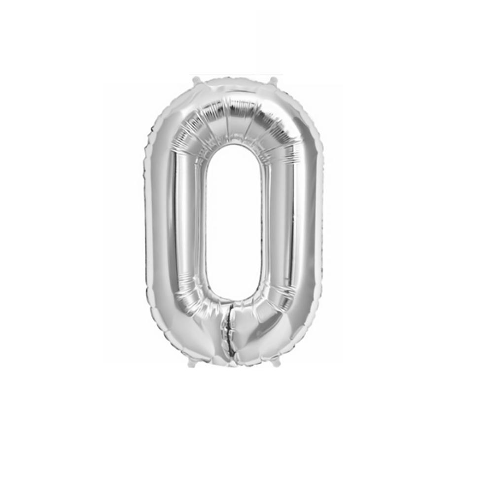 Μπαλόνι αριθμός 0 μεταλλιζέ silver 40 cm