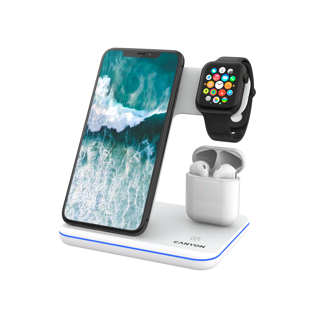 Canyon 3-in-1 Wireless charging station for gadgets QI White - CNS-WCS302W