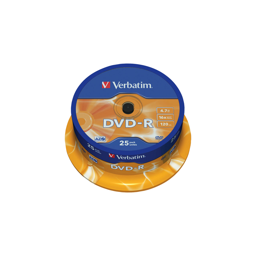 VERBATIM DVD-R 4.7GB 16X 25Τ. CAKEBOX