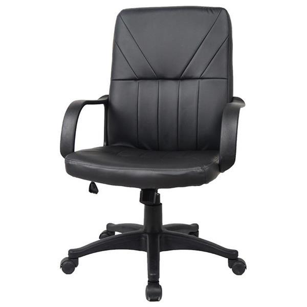 Καρέκλα διευθυντική τροχήλατη μαύρη με πλαστική βάση