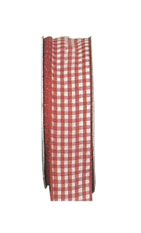 Κορδέλα καρώ με ούγια κόκκινη15mm ρολό 25μ.