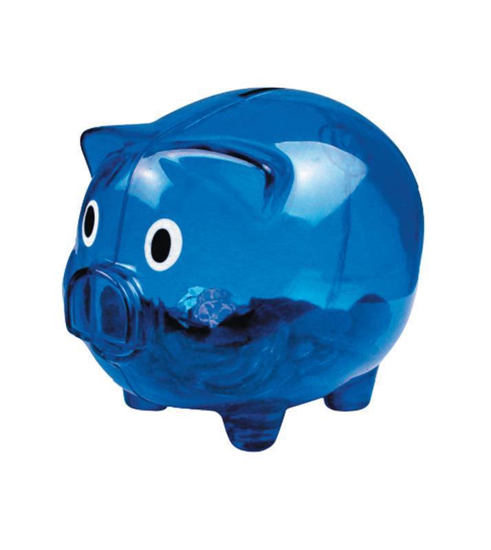 Κουμπαράς γουρουνάκι πλαστικός μπλε Υ10,1x12,6x10εκ.