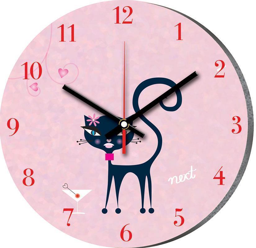 """Νext ρολόι Ø31εκ. """"ροζ γάτα"""""""