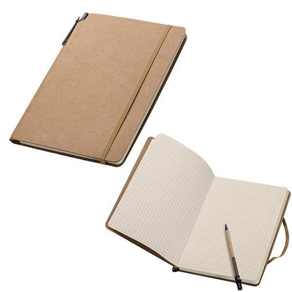 Σημειωματάριο eco με λάστιχο και στυλό Y21x14,8x1,1εκ.