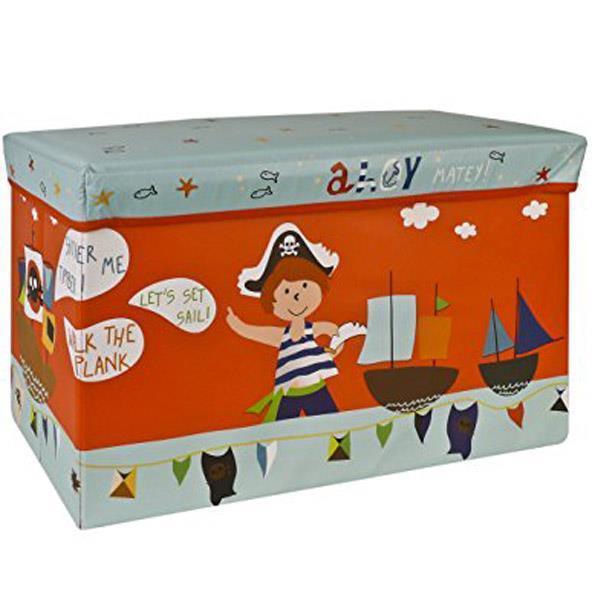 """Σκαμπώ-κουτί αποθήκευσης υφασμάτινο """"πειρατές"""" Υ35x60x30εκ."""