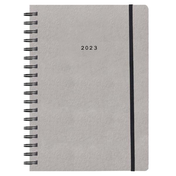 Next ημερολόγιο 2022 Natural ημερήσιο σπιράλ γκρι ανοιχτό με λάστιχο 17x25εκ.