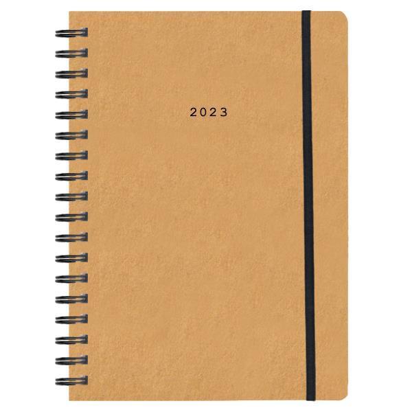 Next ημερολόγιο 2022 Natural ημερήσιο σπιράλ μουσταρδί με λάστιχο 14x21εκ.