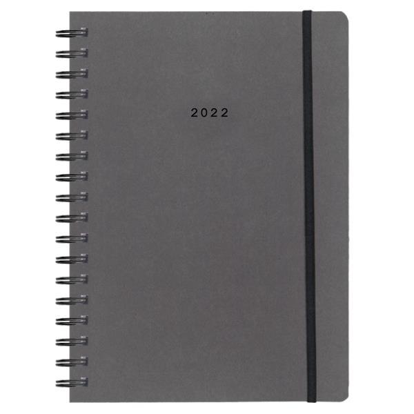 Next ημερολόγιο 2022 Natural ημερήσιο σπιράλ γκρι σκούρο με λάστιχο 14x21εκ.