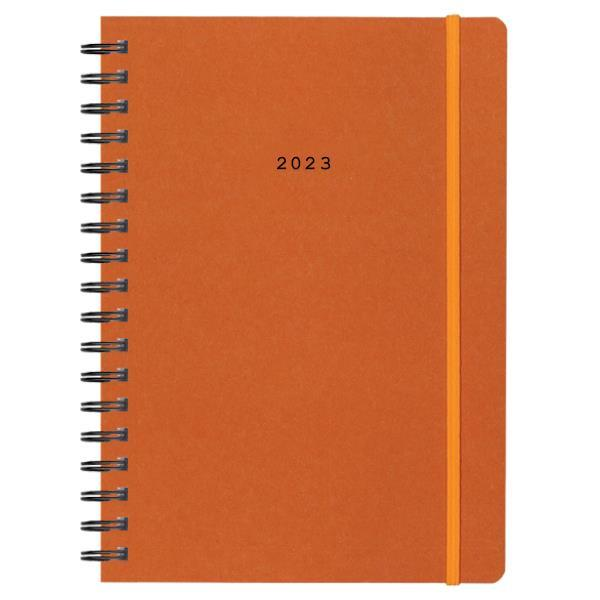 Next ημερολόγιο 2022 Natural ημερήσιο σπιράλ πορτοκαλί με λάστιχο 12x17εκ.