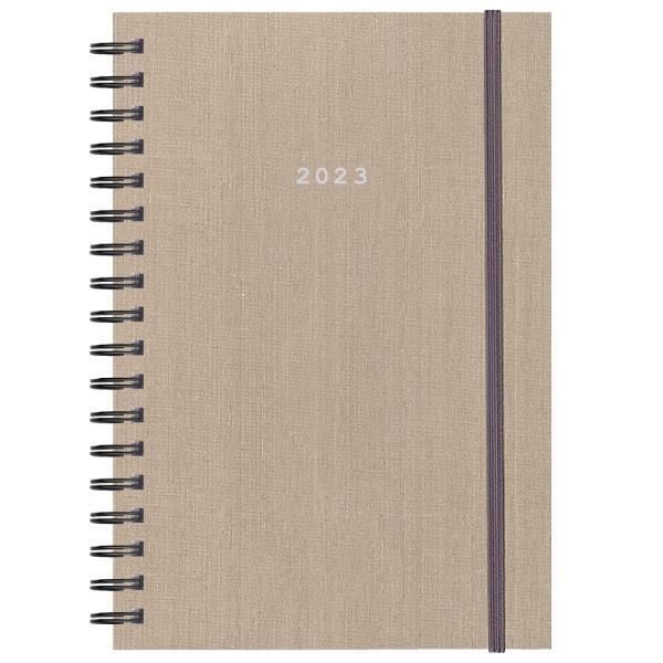 Next ημερολόγιο 2022 fabric plus ημερήσιο σπιράλ μπεζ 17x25εκ.