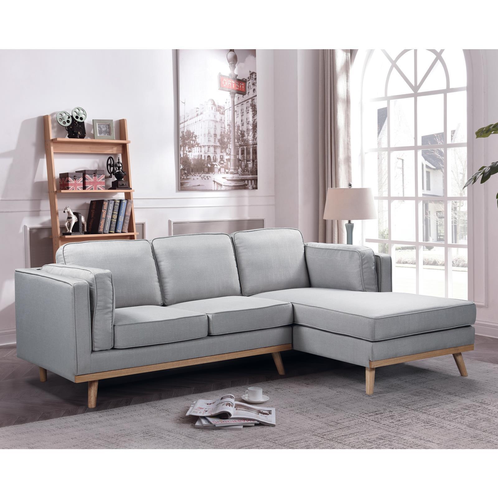 CHAMBER καναπές με αριστερή γωνία Y90x233x160x87εκ. ύφασμα ανοιχτό γκρι