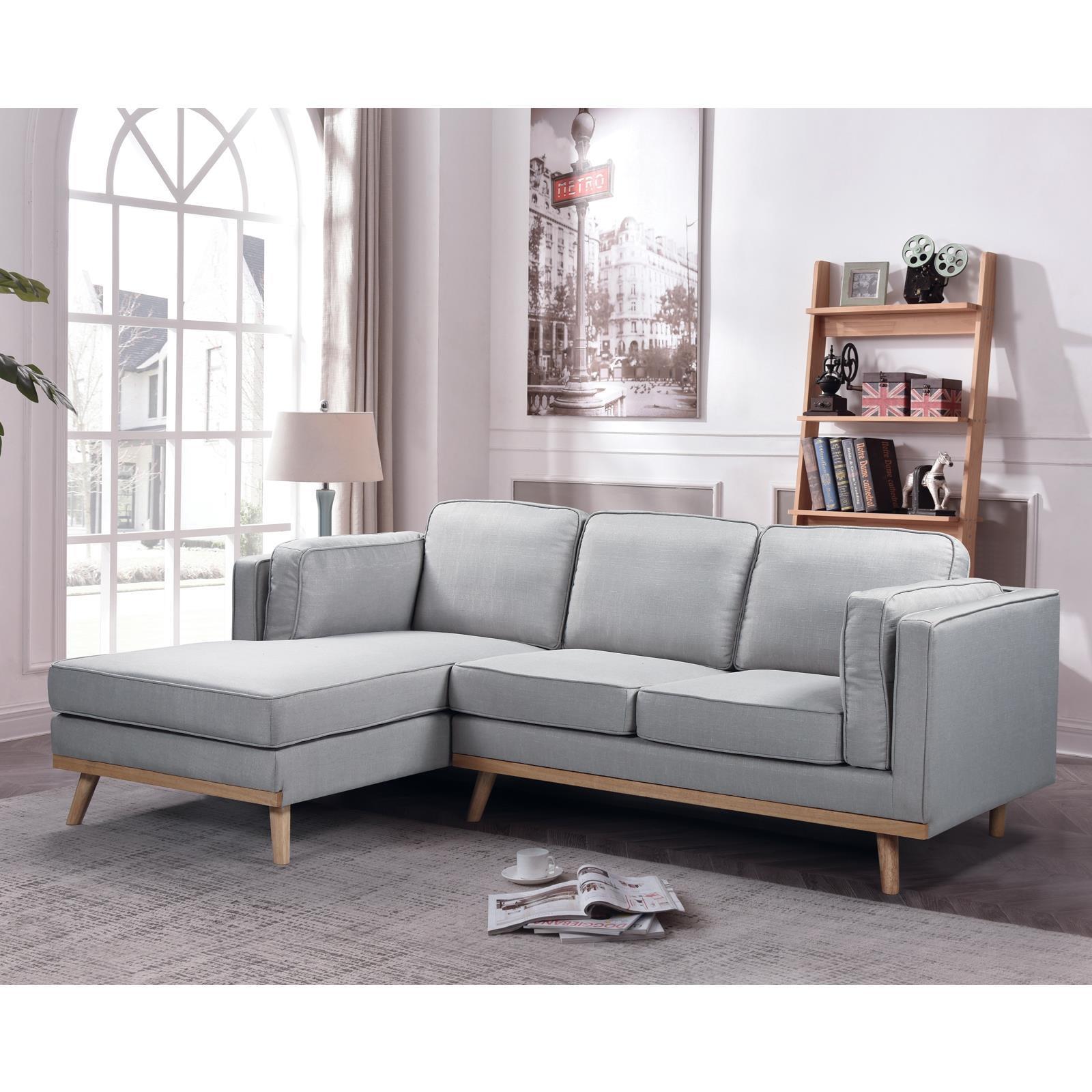 CHAMBER καναπές με δεξιά γωνία Y90x233x160x87εκ. ύφασμα ανοιχτό γκρι