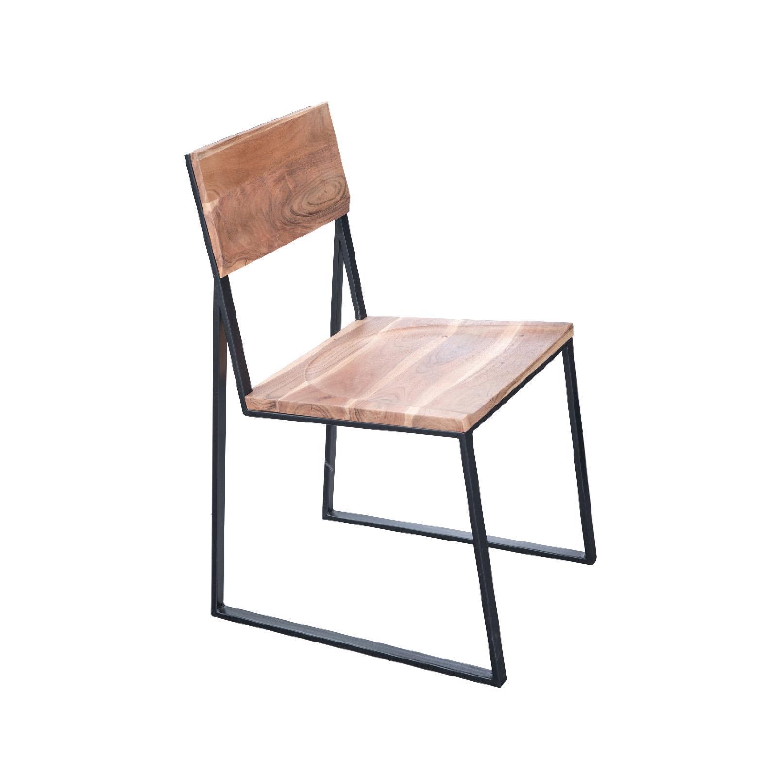 VILLAGE καρέκλα ξύλινη με μεταλλικό σκελετό Υ85x52x44εκ.