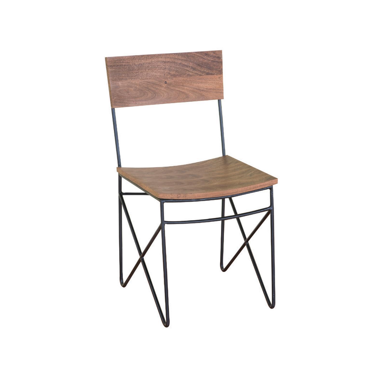 NAGAR καρέκλα μεταλλική μαύρη με ξύλο ακακίας Υ83x48x42εκ.