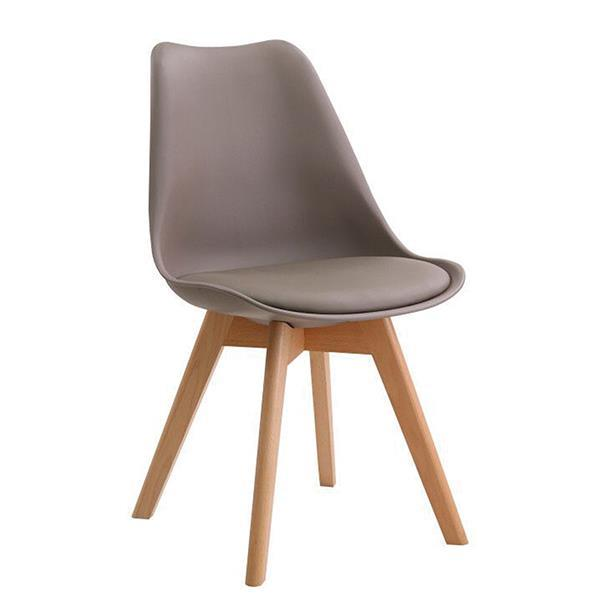 MARTIN καρέκλα με ξύλινο σκελετό, κάθισμα μπεζ PP Y82x49x57εκ.