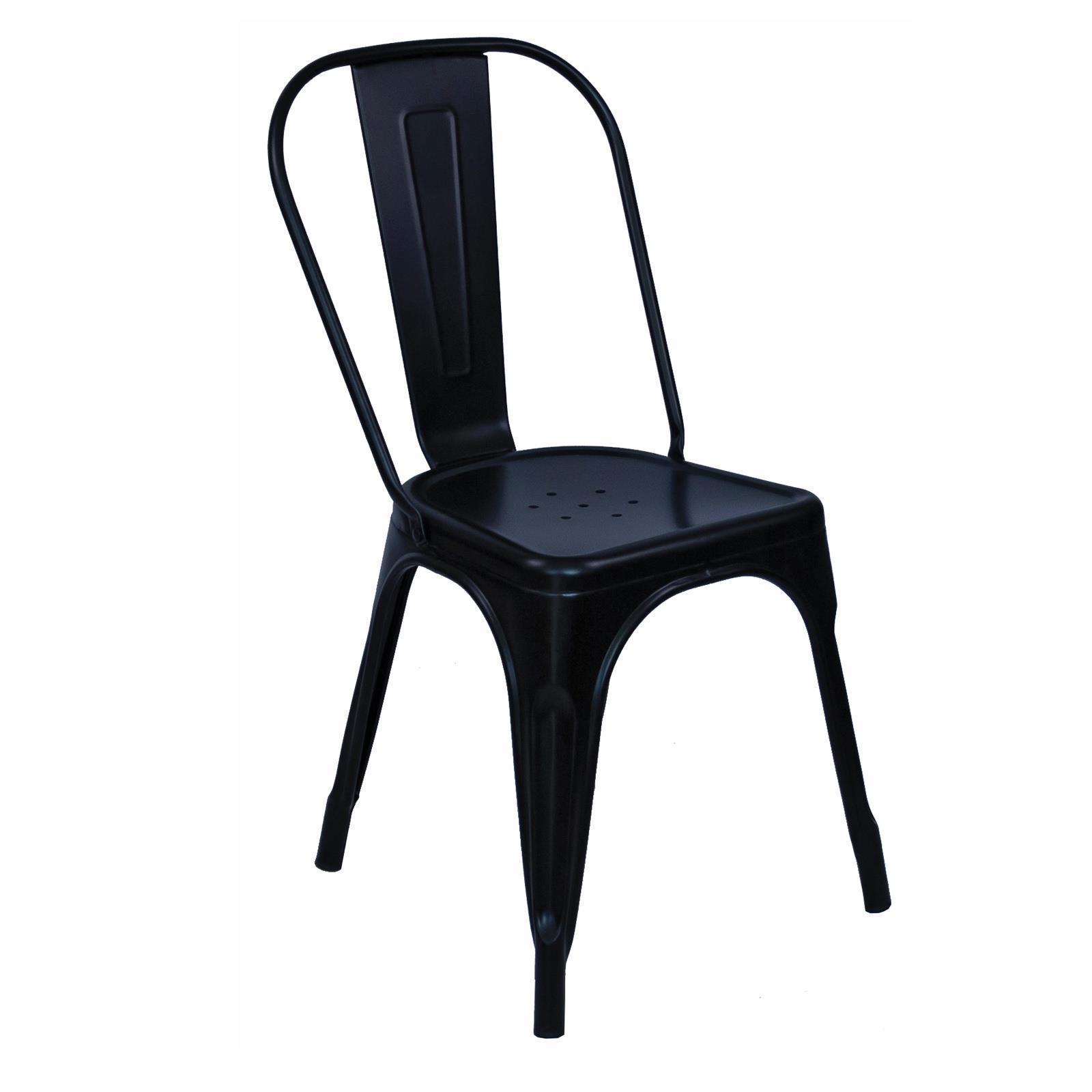 RELIX καρέκλα στοιβαζόμενη μεταλλική μαύρο Υ84x44x49εκ.