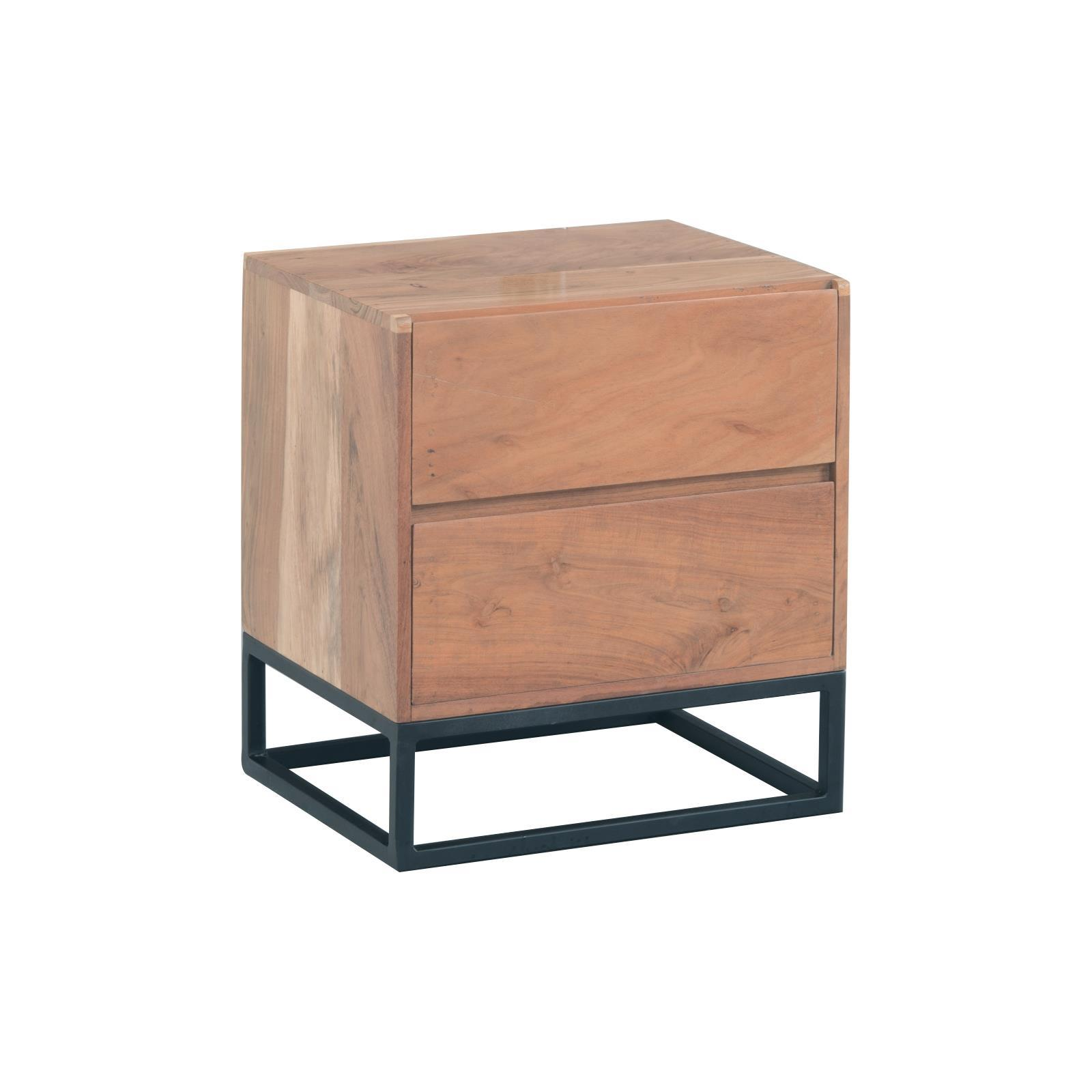 NEPAL κομοδίνο ξύλινο από ακακία με μεταλλικό σκελετό Υ55x50x40εκ.