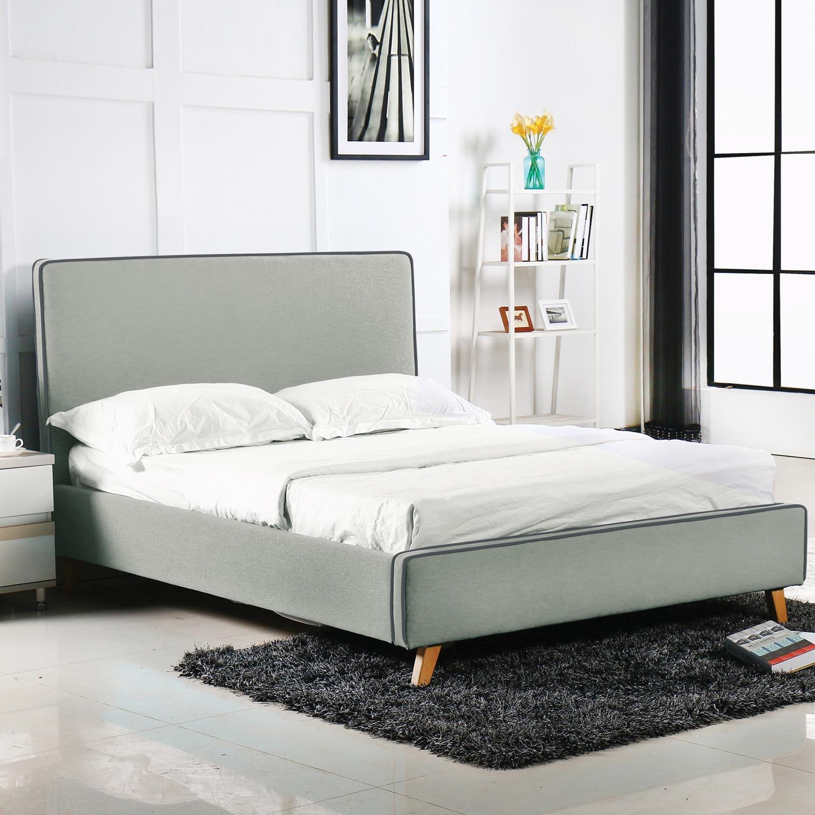 MORISSON κρεβάτι διπλό ανοιχτό γκρι Y110x216x171εκ. (στρώμα 160x200εκ.)