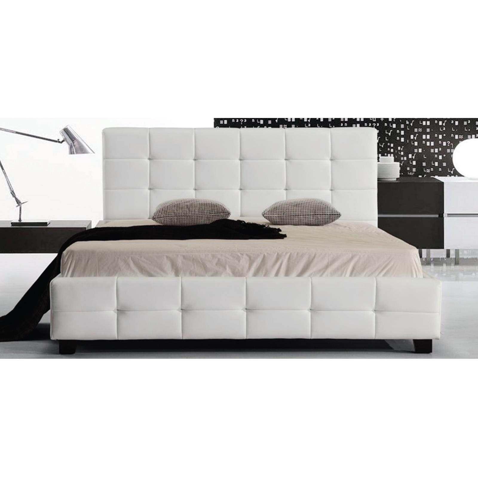 FIDEL κρεβάτι διπλό Pu άσπρο Υ107x215x168εκ. (Στρώμα 160x200εκ.)
