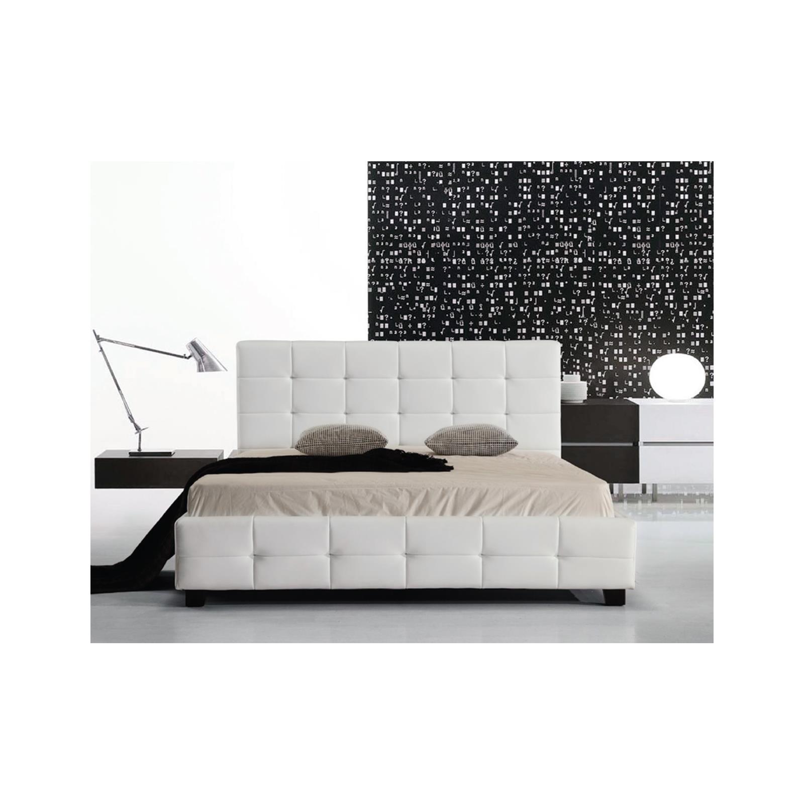 FIDEL κρεβάτι διπλό Pu άσπρο και ξύλινο σκελετό Y107x215x158εκ. (στρώμα 150x200εκ.)