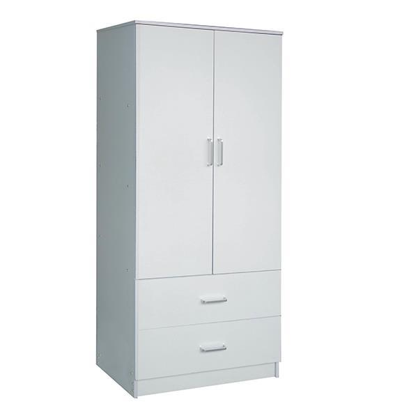 CLOSET Ντουλάπα δίφυλλη με 2 συρτάρια λευκή Υ180x80x50εκ.