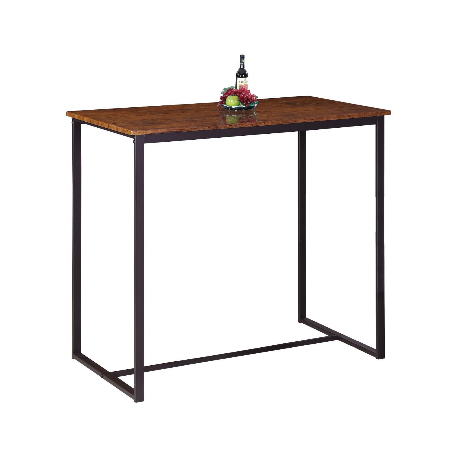 HENRY τραπέζι bar καρυδί με σκ. καφέ σκελετό Υ86x100x60εκ.
