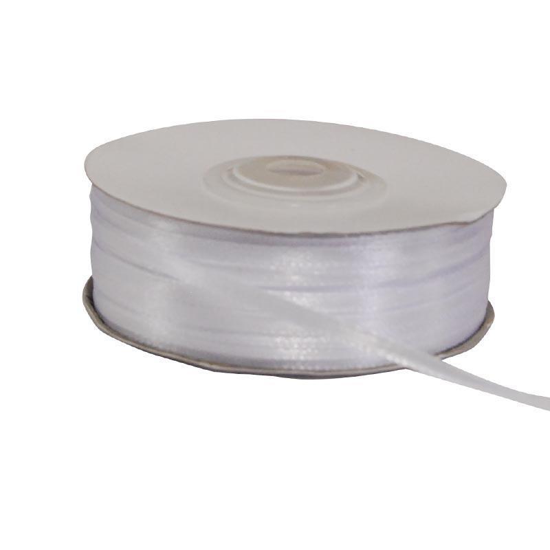 Κορδέλα σατέν διπλής όψης με ούγια λευκή 3χιλ.x100μ.