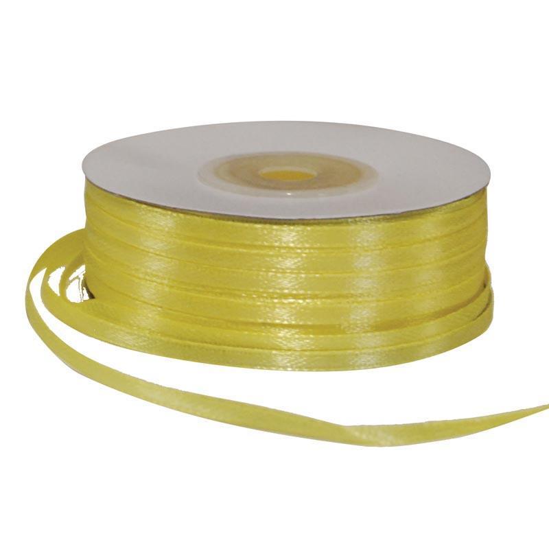 Κορδέλα σατέν διπλής όψης με ούγια κίτρινη 3χιλ.x100μ.