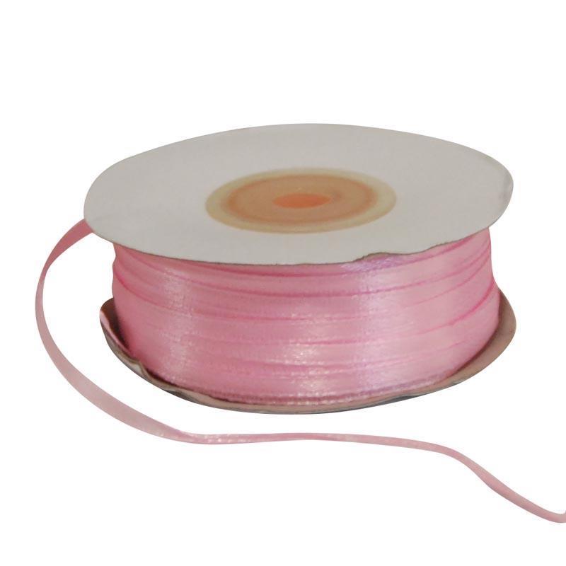 Κορδέλα σατέν διπλής όψης με ούγια ροζ 3χιλ.x100μ.