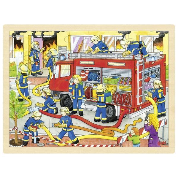 "Goki παζλ ξύλινο ""Πυροσβεστική"" 30x40εκ. 48 τεμαχίων"