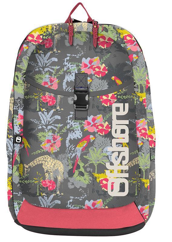 Bagtrotter τσάντα πλάτης δημοτικού λουλούδια γκρι με 2 θήκες 49x33x12εκ.