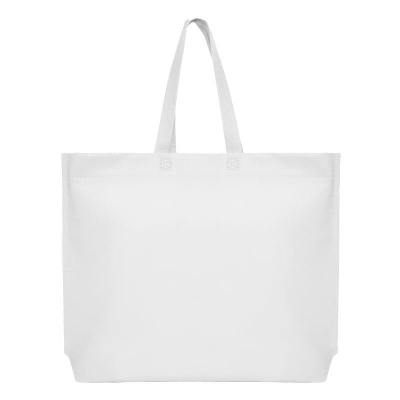 Τσάντα non woven λευκή Υ40x54x10εκ πιέτα