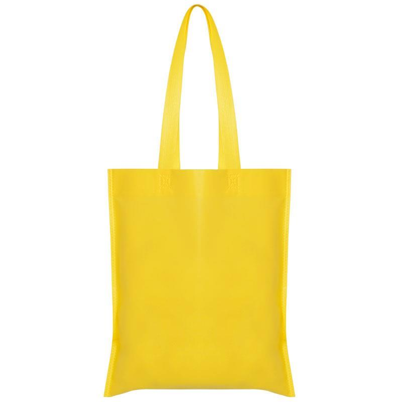 Τσάντα non woven μακρύ χερούλι κίτρινη Υ40x36εκ.