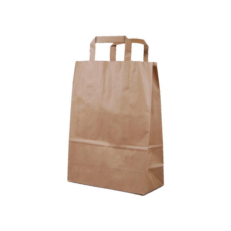 Next χάρτινη τσάντα Υ35x26x12εκ. καφέ με πλακέ χερούλι