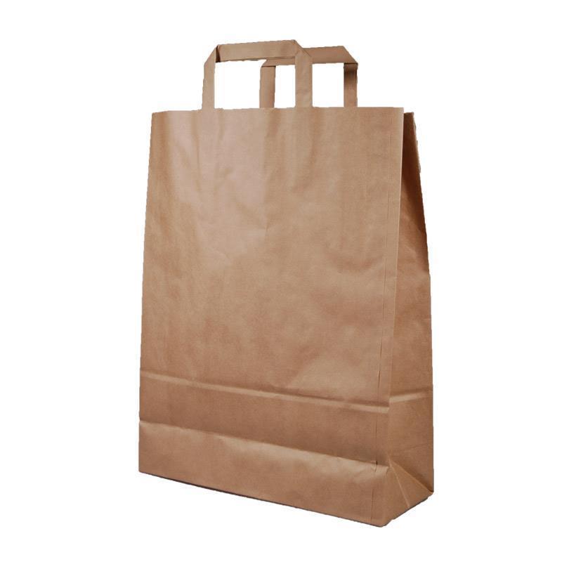 Next χάρτινη τσάντα Υ41x32x12εκ. καφέ με πλακέ χερούλι